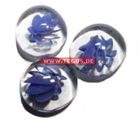 "Glas Token ""Murmelmuster - blue/small"" (25)"