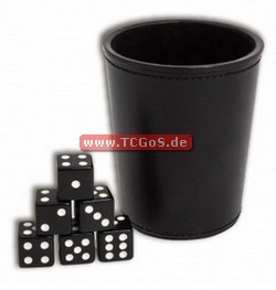 "BF Dice-Rolling ""Leather Cup and W6 - opaque black"" (6)"
