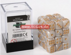 "BF Dice ""W6 Set - marbled white/gold - 12mm"" (36)"