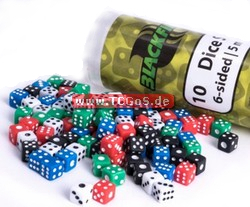 "BF Dice ""W6 - opaque black - 5mm"" (10)"