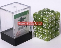 "BF Dice ""W6 Set - marbled grass green - 12mm"" (36)"