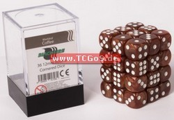 "BF Dice ""W6 Set - marbled coffee - 12mm"" (36)"
