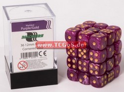 "BF Dice ""W6 Set - marbled purple/gold - 12mm"" (36)"