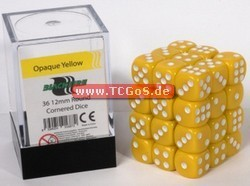 "BF Dice ""W6 Set - opaque yellow - 12mm"" (36)"